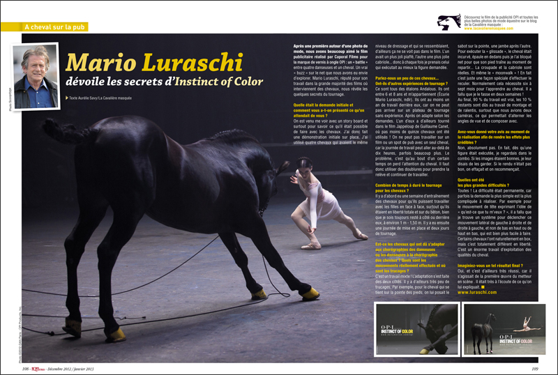 www.lacavalieremasquee.com | Aurélie Savy La Cavalière masquée for Sports Equestres Magazine: Mario Luraschi for OPI
