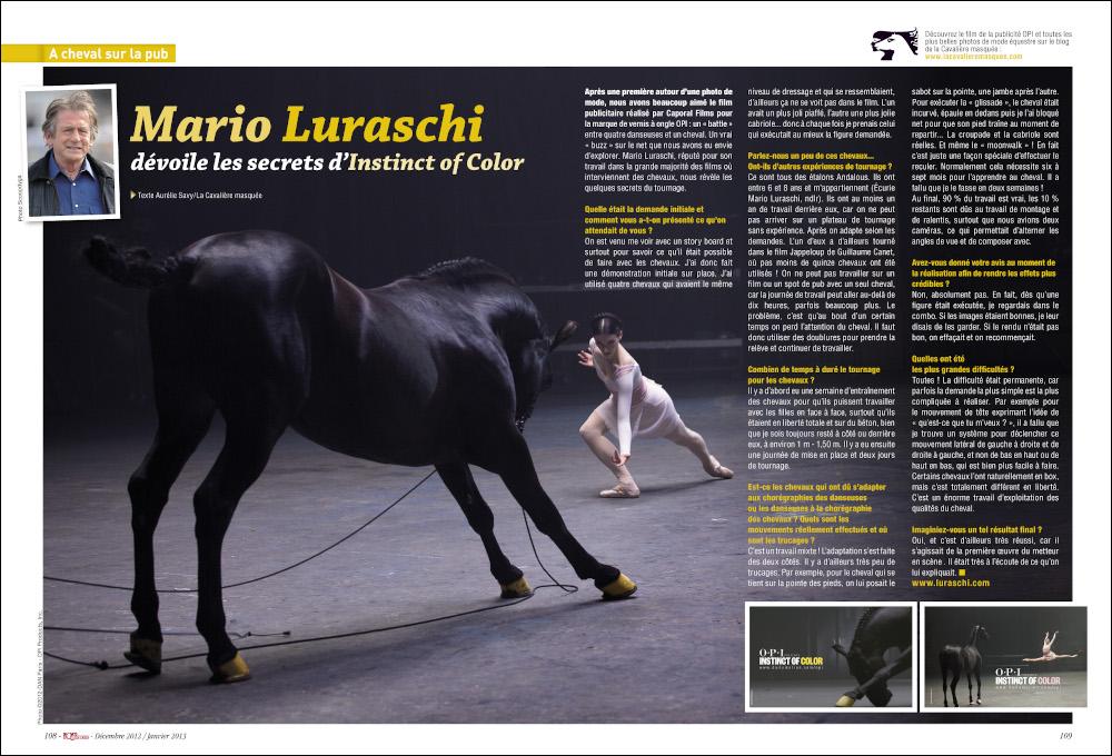 www.lacavalieremasquee.com | Sports Équestres Magazine : A cheval sur la pub - Mario Lurashi dévoile les secrets d'Instinct of Color