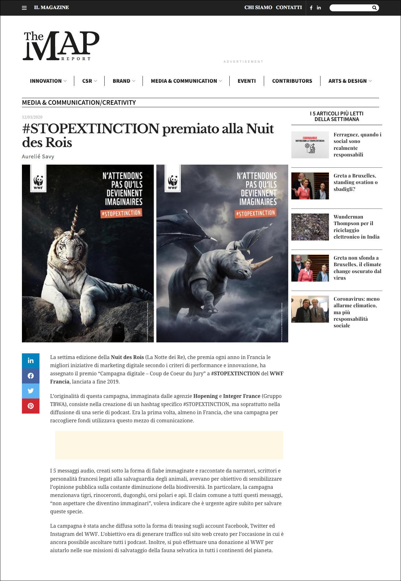 Aurélie Savy per THE MAP REPORT: #STOPEXTINCTION premiato alla Nuit des Rois