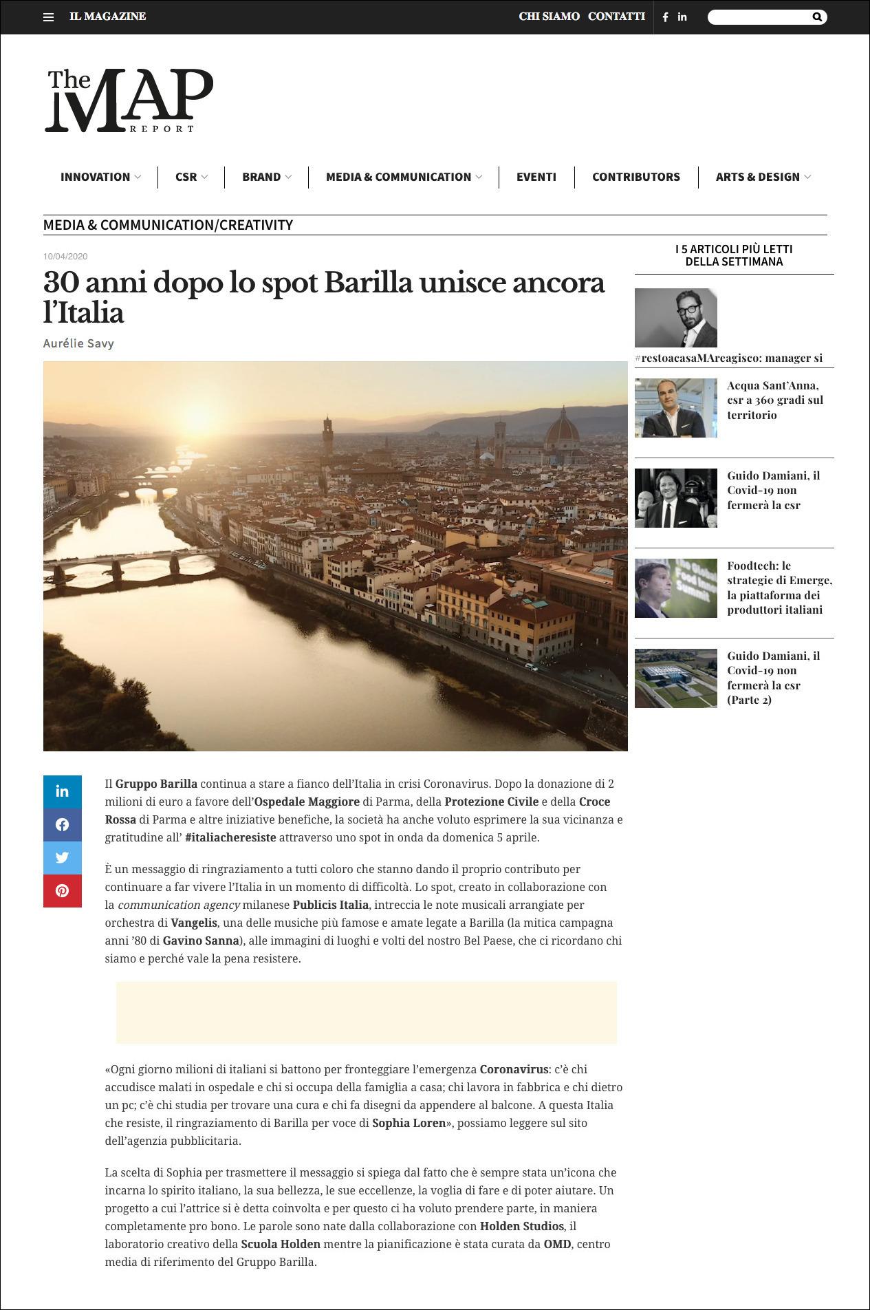 Aurélie Savy per The Map Report | 30 anni dopo lo spot Barilla unisce ancora l'Italia