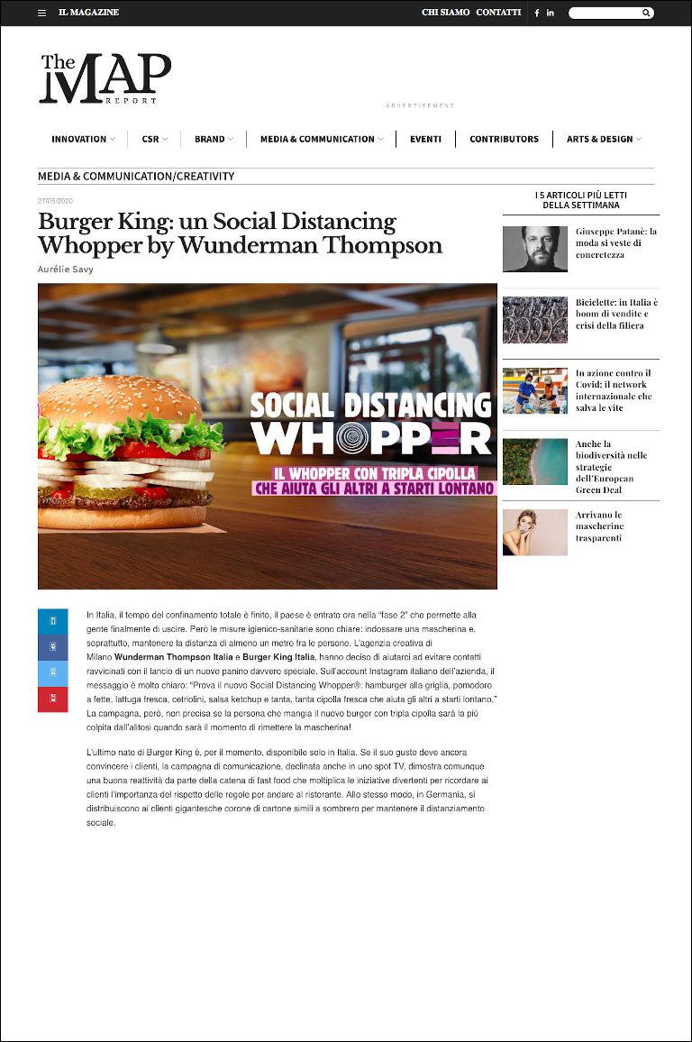 Aurélie Savy per The Map Report | Burger King : Social Distancing Whopper