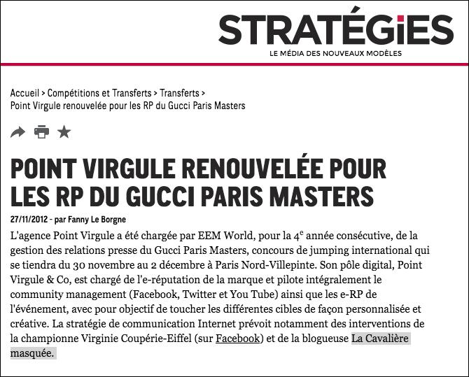 www.lacavalieremasquee.com | Stratégies: Gucci Paris Masters