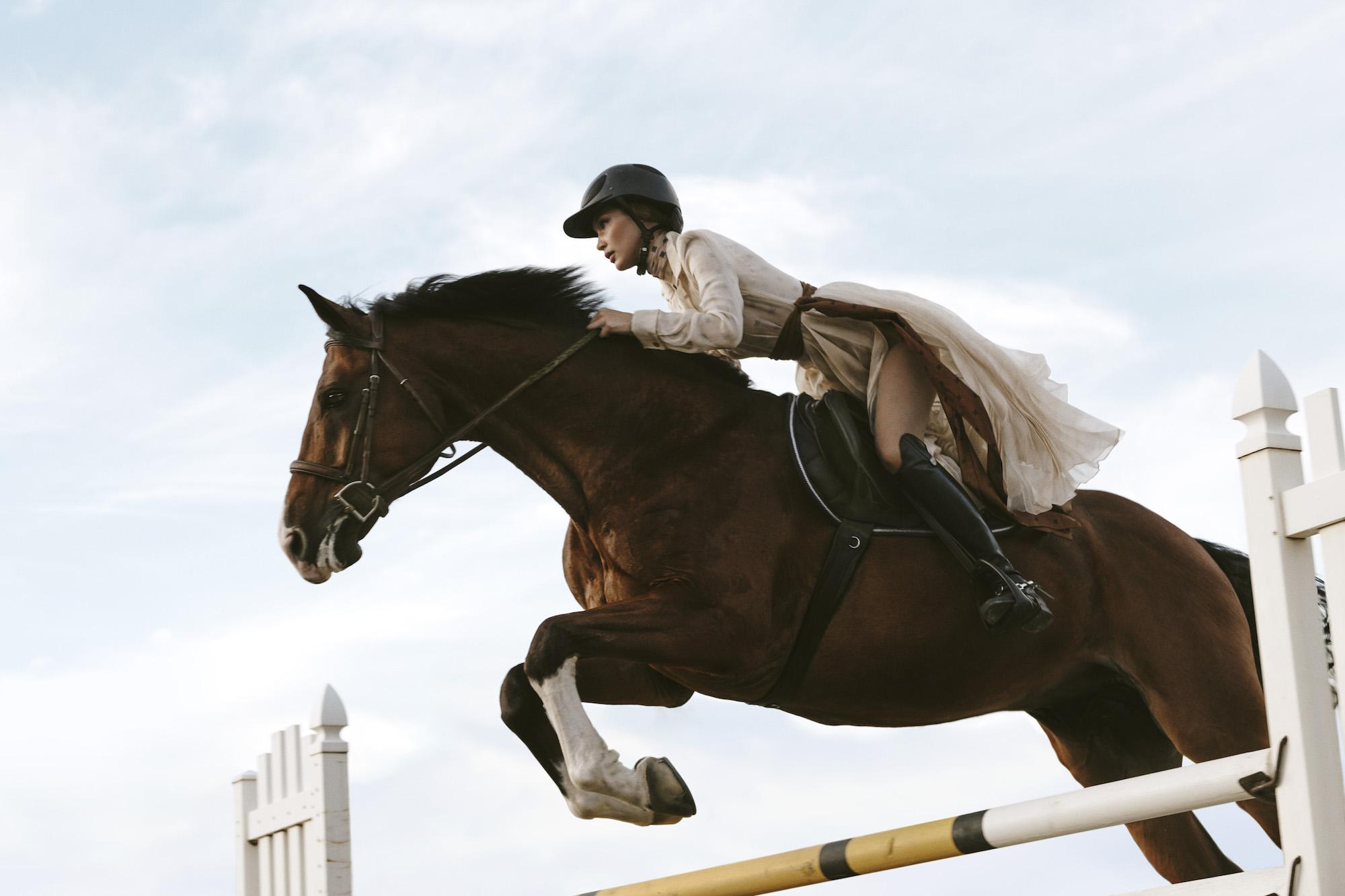 Blair Getz Mezibov For V Magazine Fall 2019 W Bella Hadid In Full Gallop La Cavaliere Masquee